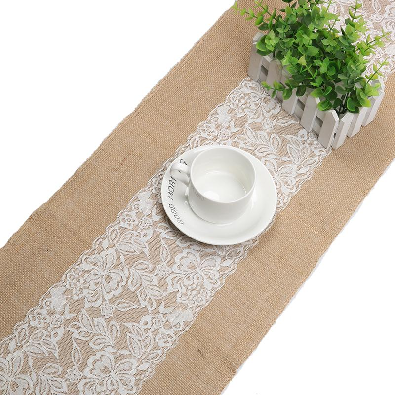 1386c82dc2e Vintage Jute Burlap Table Runner With Lace 12x70 12x108 Tablecloth For  Wedding Party Bridal Baby Shower Table Decor Xmas Table Runners Yellow Table  Runner ...