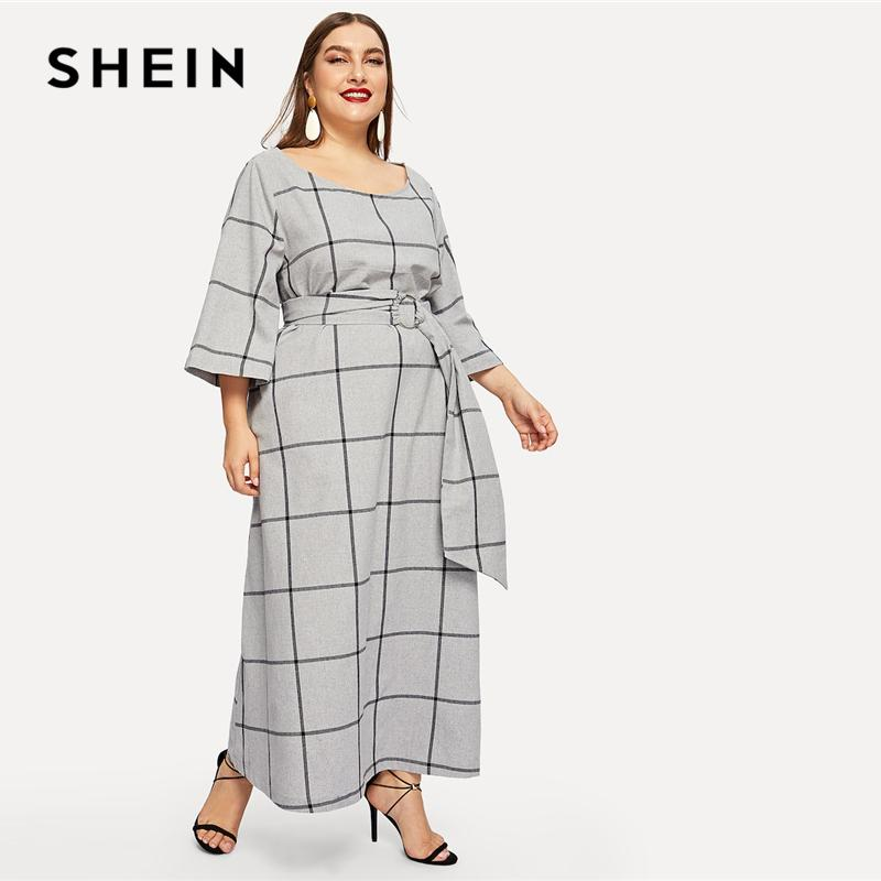 Grey Plus Size Scoop Neck Grid Plaid Maxi Dress With O-ring Belted Women  2019 Spring Office Lady High Waist Dress C19041001