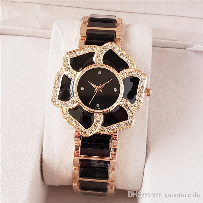 New fashion Crystal Flower Dial Bracelet Quartz Wrist Watch designer watches Christmas Gift for Ladies Women Gold Rose Gold Silver Wholesale