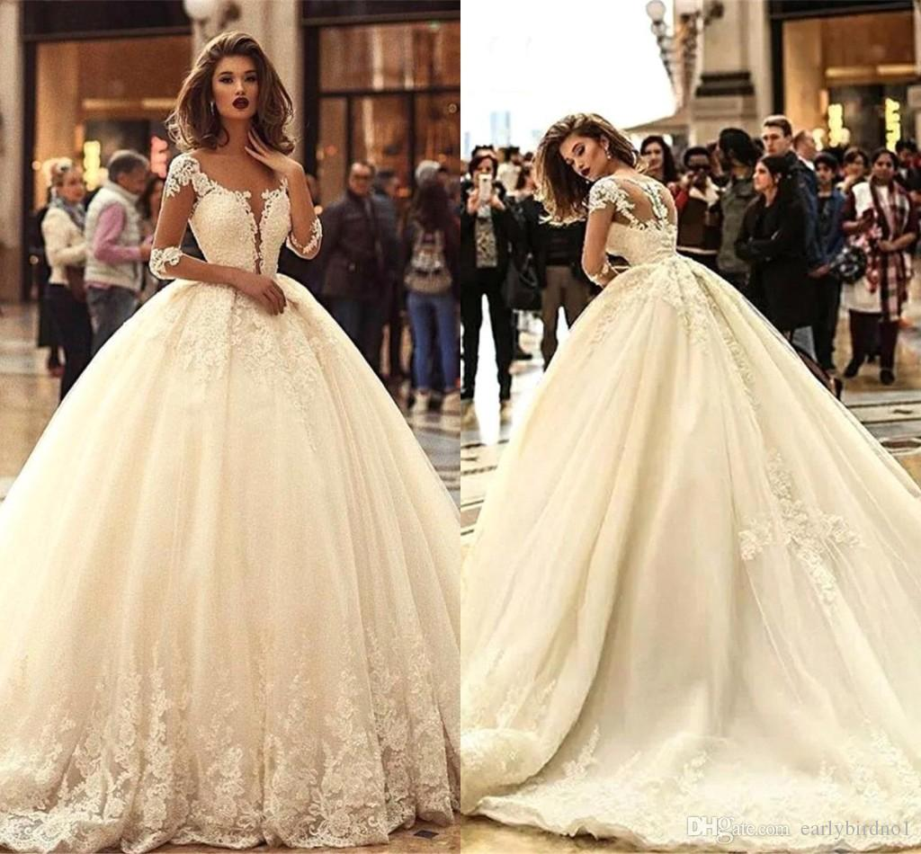 fc6bcf9e4c New Ivory Romantic Lace Ball Gown Wedding Dresses 2019 Sheer Long Sleeves  Lace Appliques A Line Tulle Wedding Bridal Gowns BC0626