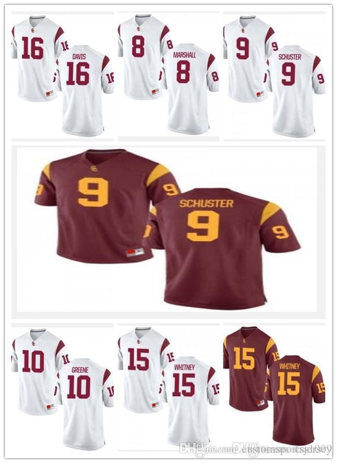 069276780 2019 Cheap Custom USC Trojans College Football Jersey Mens Limited 8  Burnett 9 Smith Schuster 10 Greene 15 Whitney 16 Davis White Red Jerseys  From ...