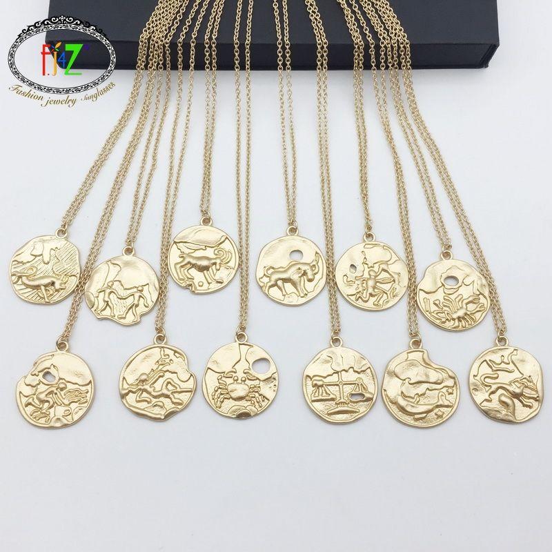 839d328fd5f0 Compre F.J4Z Caliente Horóscopo Collar De Moda De Color Dorado 12  Constelación Moneda Colgantes Collares Largos Joyería Para Hombres Mujeres  A  35.25 Del ...