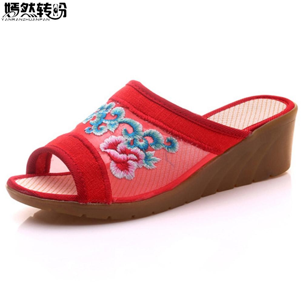 Vintage Women Slippers Embroidery Mesh Open Peep Toe Shoes Outside Causal Summer Slippers High Heel Shoes Chanclas Mujer