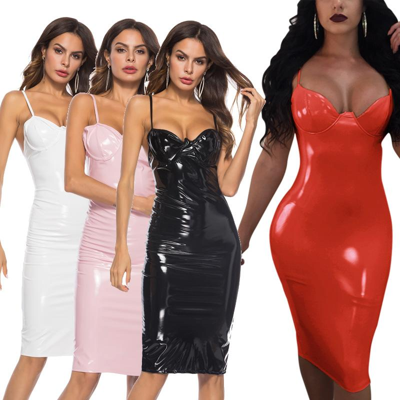 2019 Plus Size Wetlook PU Street Style Dresses Women Erotic Night ...