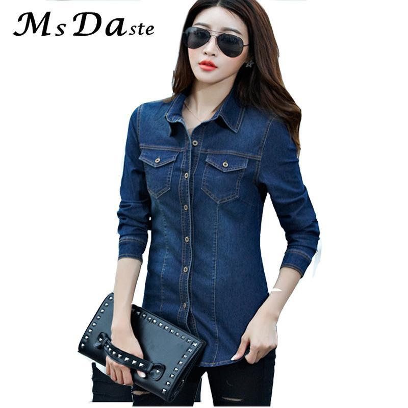 best website e77a6 0ae32 Camicia Jeans Donna 2019 Maniche Lunghe Slim Casual Vintage Elastico Donna  Camicie Jeans Top Blusas Feminina Donna Camicette e Top Y190518