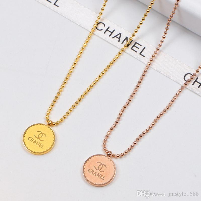 Fashion Bead Chain Necklace Romantic Round Card Necklaces Women Rose Gold Necklaces Lovely Pendant Necklace for Birthday Wedding Gifts