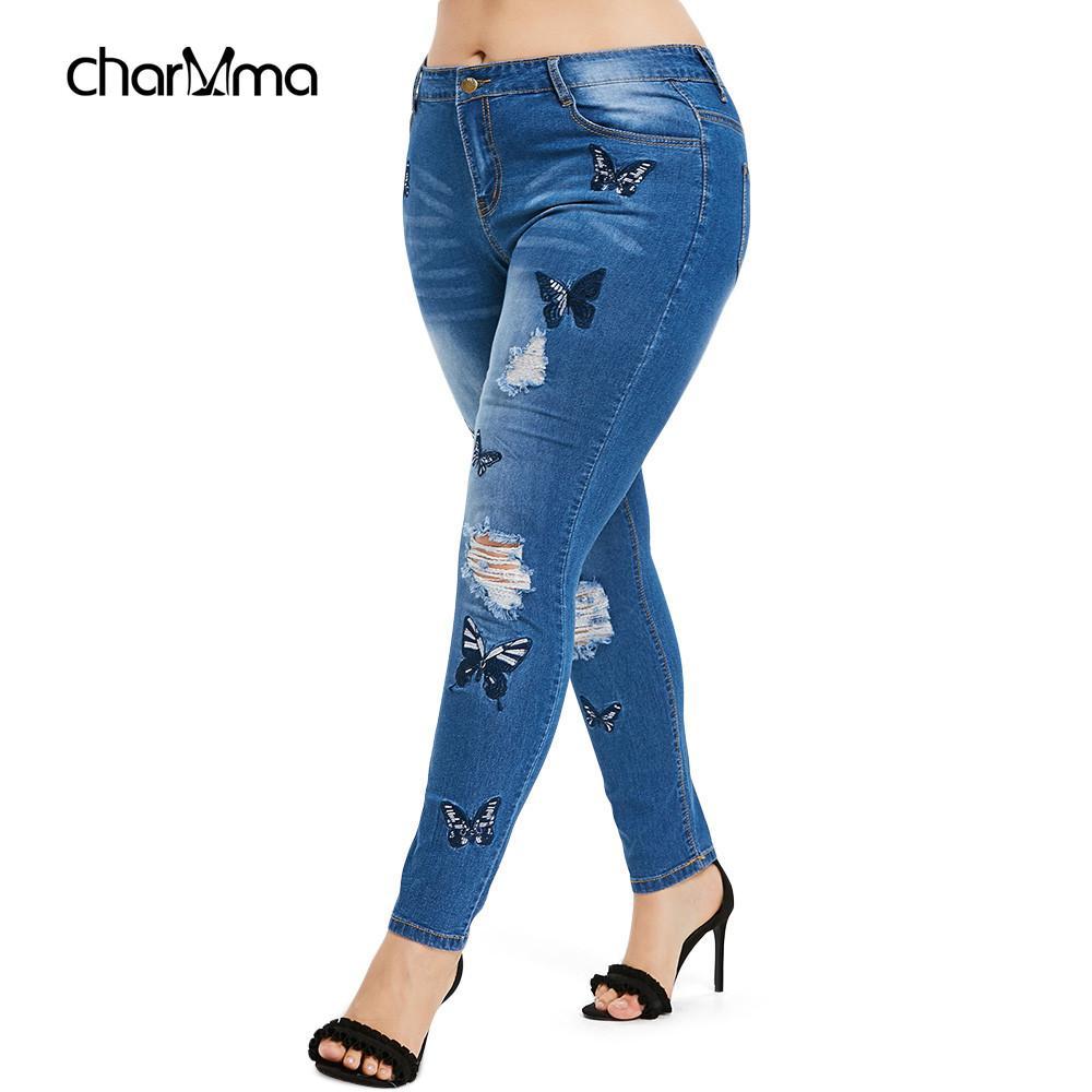acf01f7a7c Compre Tallas Grandes Mariposa Distressed Jeans Bordados Pantalón Flaco  Cintura Alta Pantalones Lápiz Denim Jean Señoras Pantalones Dama A  22.99  Del ...