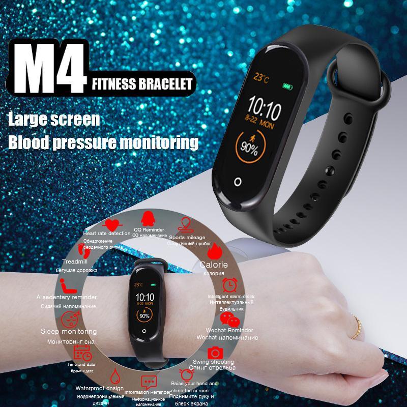 6174135d77bd M4 Smart Band Fitness Tracker Reloj Pulsera Deportiva Frecuencia Cardíaca  Presión Arterial Smartband Monitor Pantalla en Color Salud Pulsera
