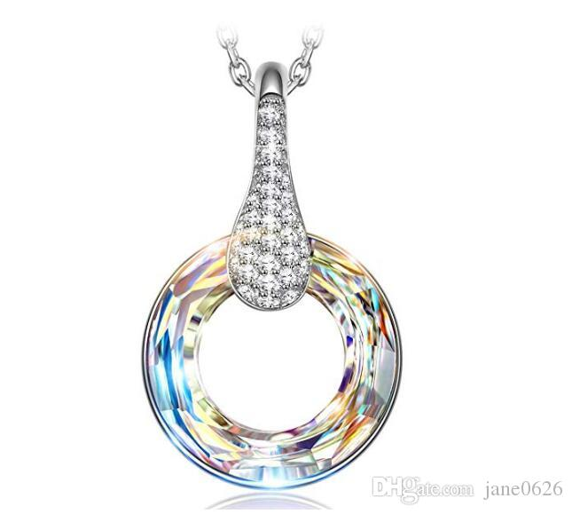 365ddcb91 2019 Simple Beauty Aurora Borealis 925 Sterling Silver Swarovski Crystals  Pendant Necklace For Wedding Gift For Women Girls Teens From Jane0626, ...