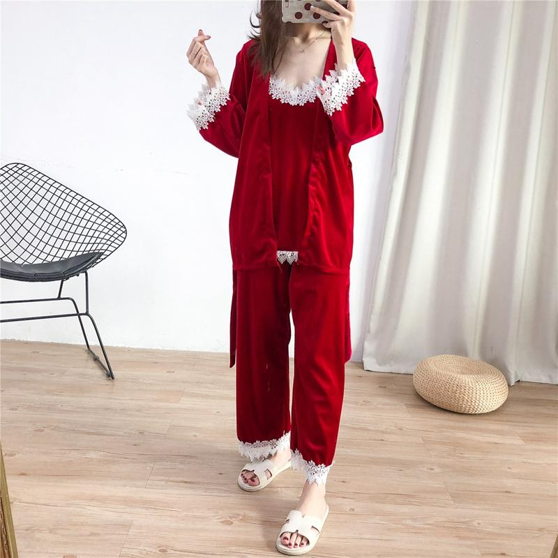 Pajama Sets Velvet Pajamas For Women Ladies Sexy Lace Top + Pants +Bath Robe  Set V Neck Nighties Winter Patchwork Red UK 2019 From Anzhuhua 77e717b9614