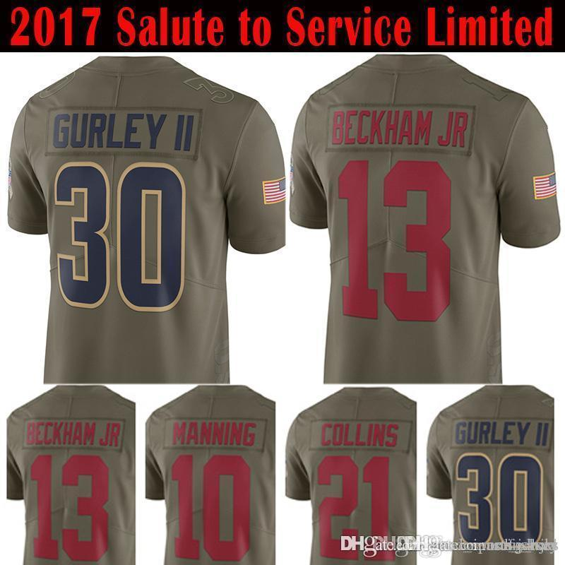 hot sale online 31ef5 cae93 30 Todd Gurley 10 Eli Manning Jersey 13 Odell Beckham Jr 21 Landon Collins  2017 Salute To Service Limited Jerseys new