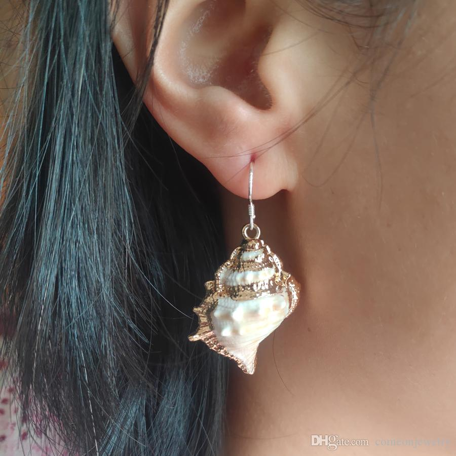 05de53044ca 2019 fashion newest style top Womens Earrings Vintage conch Dangle Earrings  Designer Bohemia Earrings Ethnic Jewelry