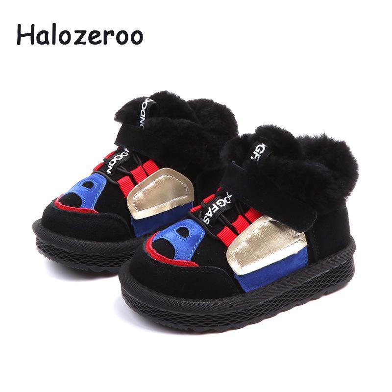 2c4e6eae Compre Halozeroo New Winter Baby Girl Botas De Nieve Para Niños Pequeños  Zapatos Suaves Para Niños Botines De Cuero Genuino Marca Boy Fur Black A  $40.09 Del ...