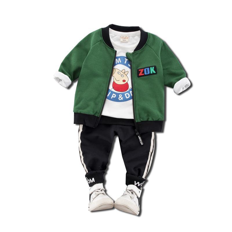 4f3f5e14b058 Jungen Sets Kleidung Frühling Herbst Cartoon Drei Stück Baumwolle Pullover  T-shirt Reißverschluss Mantel Sport Alter 1-4 Kinder Trainingsanzug ...
