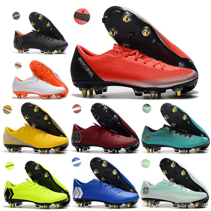 b45a1990c95 New Mens Low Ankle Football Boots CR7 Mercurial Vapors XII PRO SG Soccer  Shoes Neymar Superfly VI ACC Outdoor Soccer Cleats Mercurial SG Superfly SG  ...