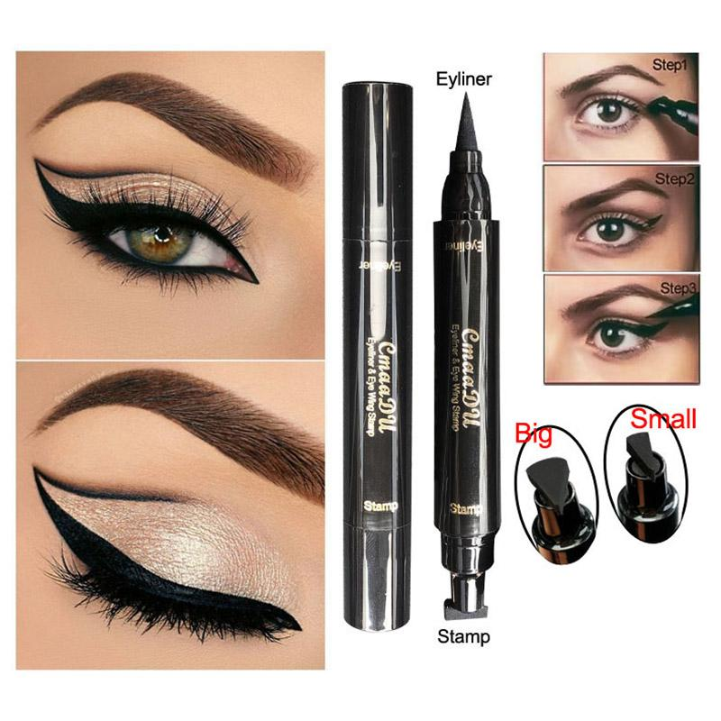 Fashion Double Ended Stamp Eyeliner Pencil Waterproof Makeup Wing Shape Black Eye Liner Stamp Cosmetic