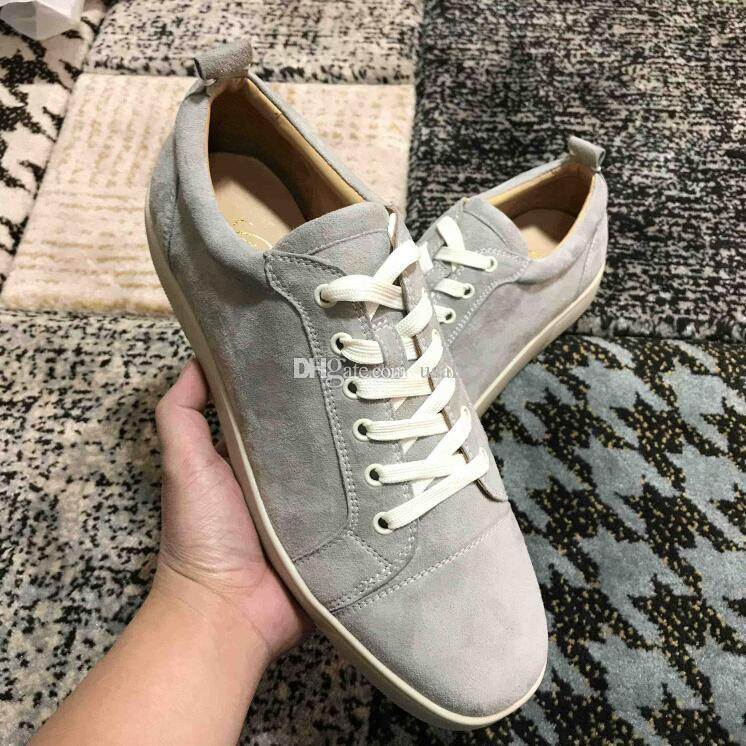 Fashion Sneaker Red Bottom Grey Casual shoes Low Cut Suede spike Luxury Shoes For Men and Women Shoes Party Wedding crystal Leather Sneakers