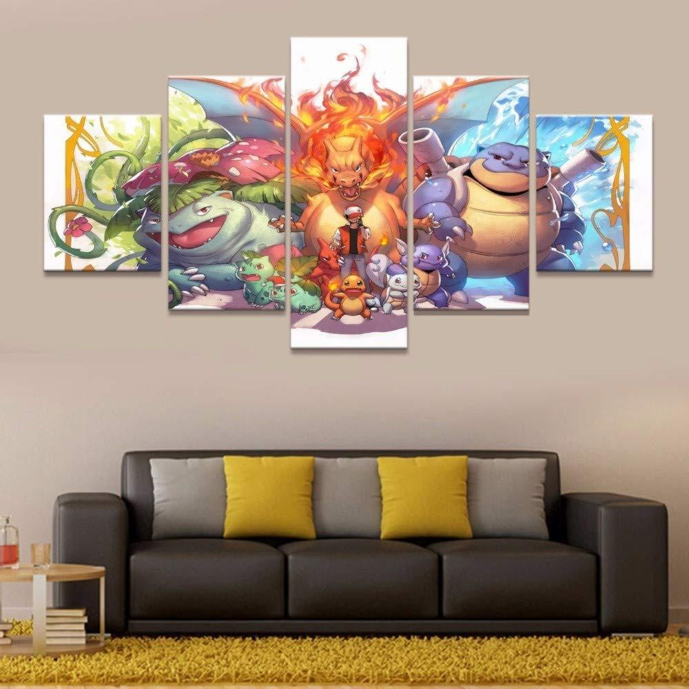 (Unframed/Framed) Anime Animal Spirit,5 Pieces Canvas Prints Wall Art Oil Painting Home Decor