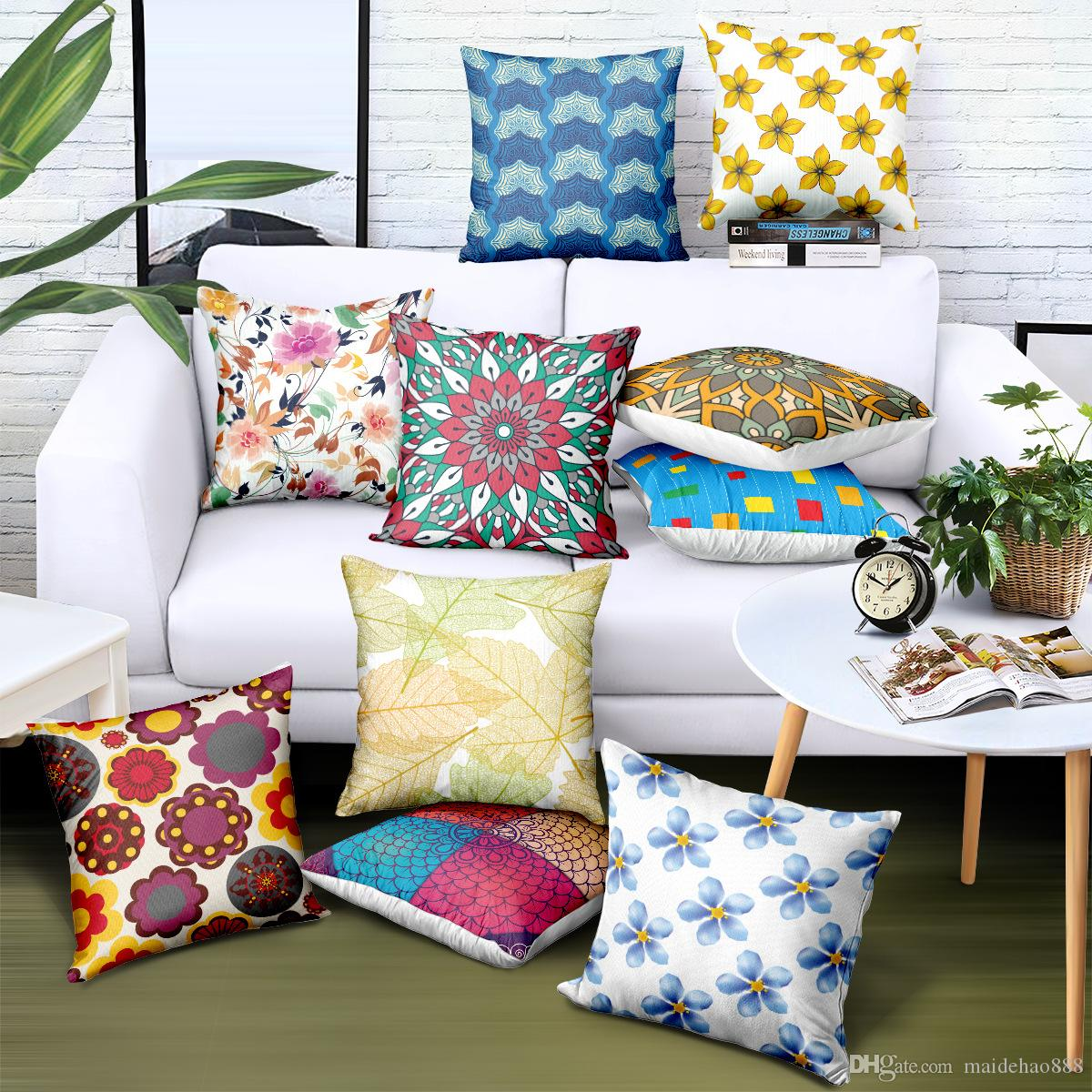 Custom Wholesale Pillow Cover European and American Style Geometric Print Logo Brand Advertising Gift Sofa Chair Cushion Cover Free Design