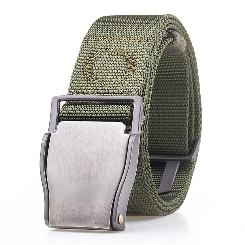 10 Colors Army Belt Tactical Designer Men Canvas Belts For Pants Long Nylon Strap Metal Buckle Male Elastic Waist Belt