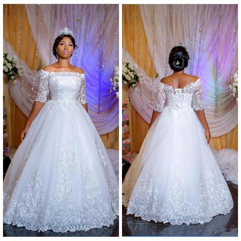 f636bc4df6 White Lace Applique Plus Size Short Sleeve Wedding Dresses Cheap 2019  Princess Ball Gown Wedding Dress Bridal Gown Bling Sleeves