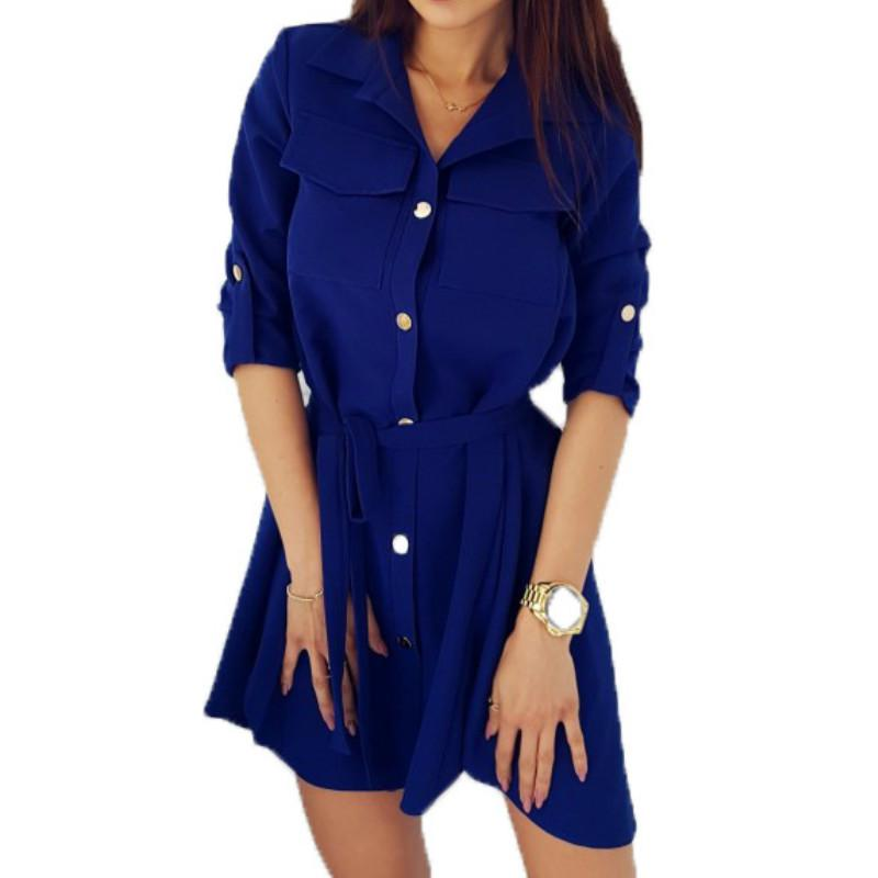 Fashion Shirts Dress Solid Turn-down Collar Spring Autumn Dresses XXL Buttons Loose Women Dresses Casual Office Dress GV118 Y190117