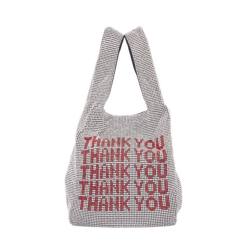 Thank you sequins Bags Women Small Tote Bags Crystal Bling bling Fashion Lady Bucket Handbags Vest Girls Glitter Purses Brand