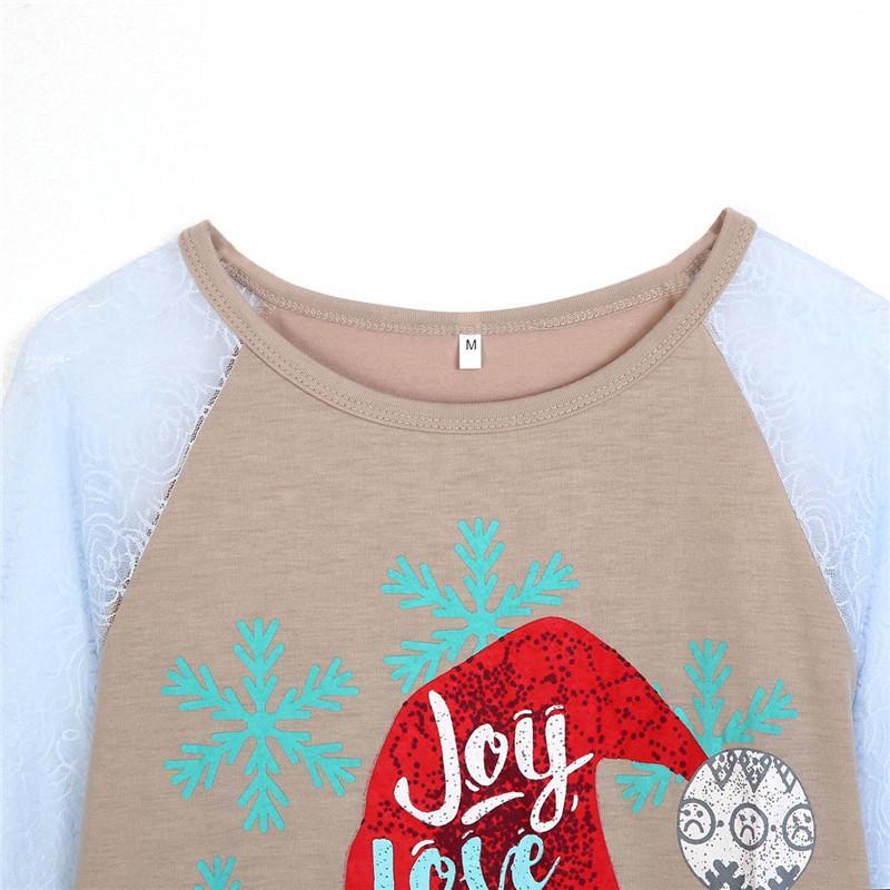 عيد ميلاد سعيد جديد أنيق الخريف نمط المرأة بلايز كم يشبع رسالة بلوزة ملابس عيد الميلاد عارضة الملابس الرخيصة