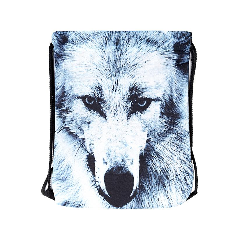 39x30cm Harajuku Cute Cloth Coulisse Borse tela Kawaii Animal Wolf Storage Bags Zaino 3d Stampato Womens Gift Bag