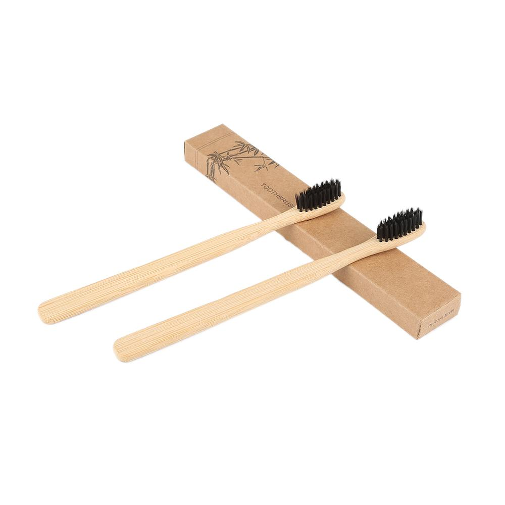 100 sets Dropshipping Eco-Friendly Natural Bamboo Charcoal cepillo de dientes de cerdas suaves bajo carbono de madera mango dientes limpia cepillo de dientes