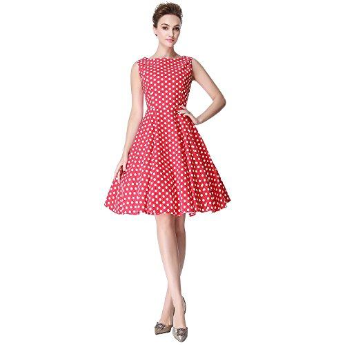 aca770cc3a25a Heroecol Womens Vintage 1950s Dresses Boat Neck Sleeveless 50s 60s ...