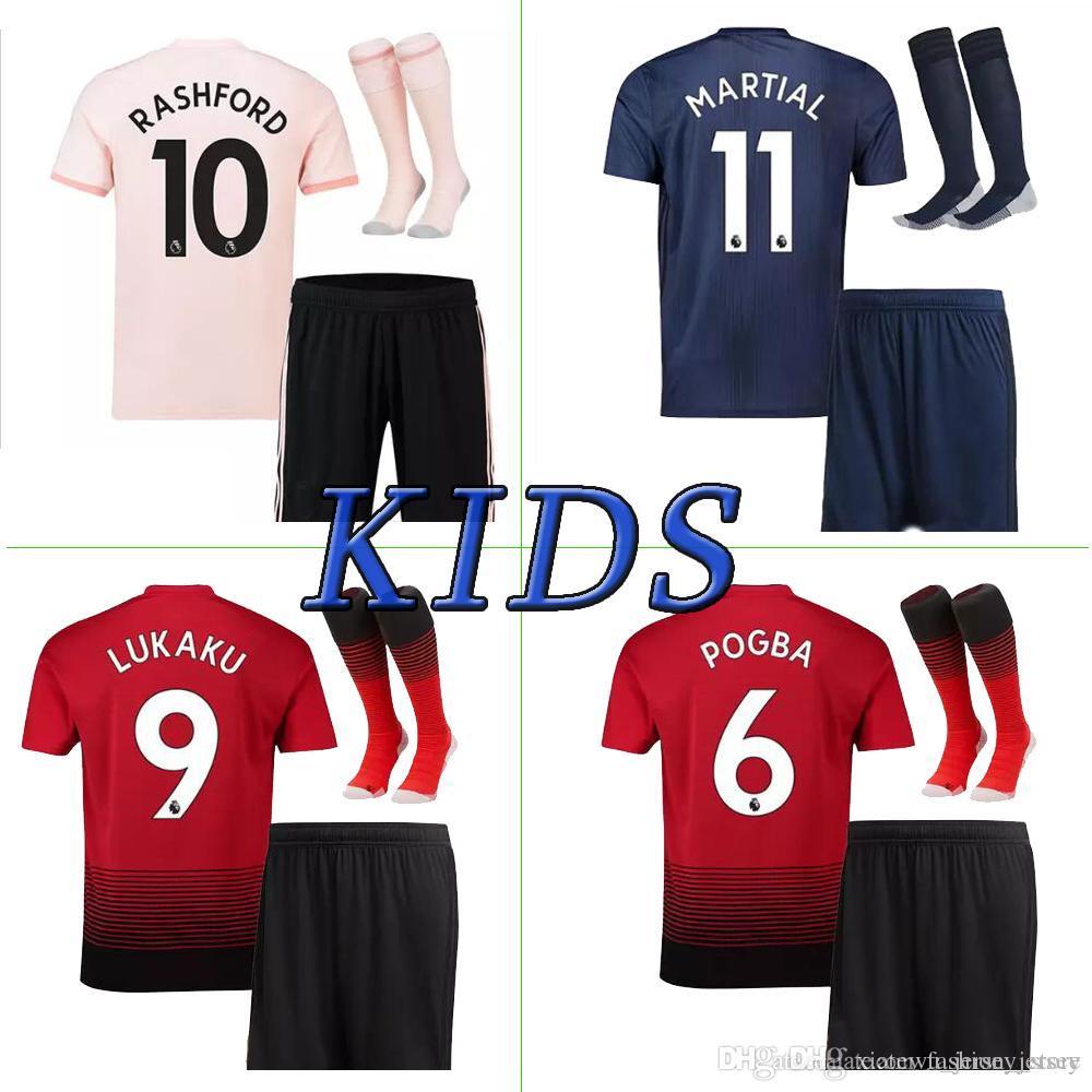 c1d8bae36 Man Utd Soccer Jerseys Home Away Man Utd Kids Kit 18 19 POGBA ALEXIS LUKAKU  RASHFORD Kids Kit Soccer Jersey+pants+socks Man Utd Kids Man Utd Kids Soccer  ...