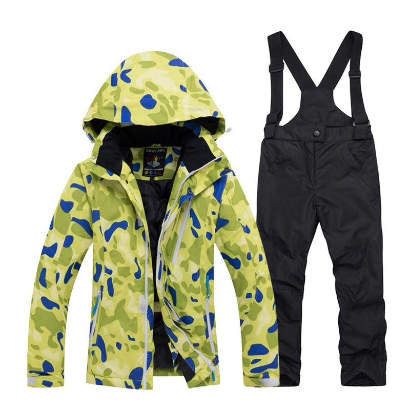 4cd8a597a848 2019 Cheap Boy And Girl Snow Suit Snowboarding Sets Windproof Wear ...
