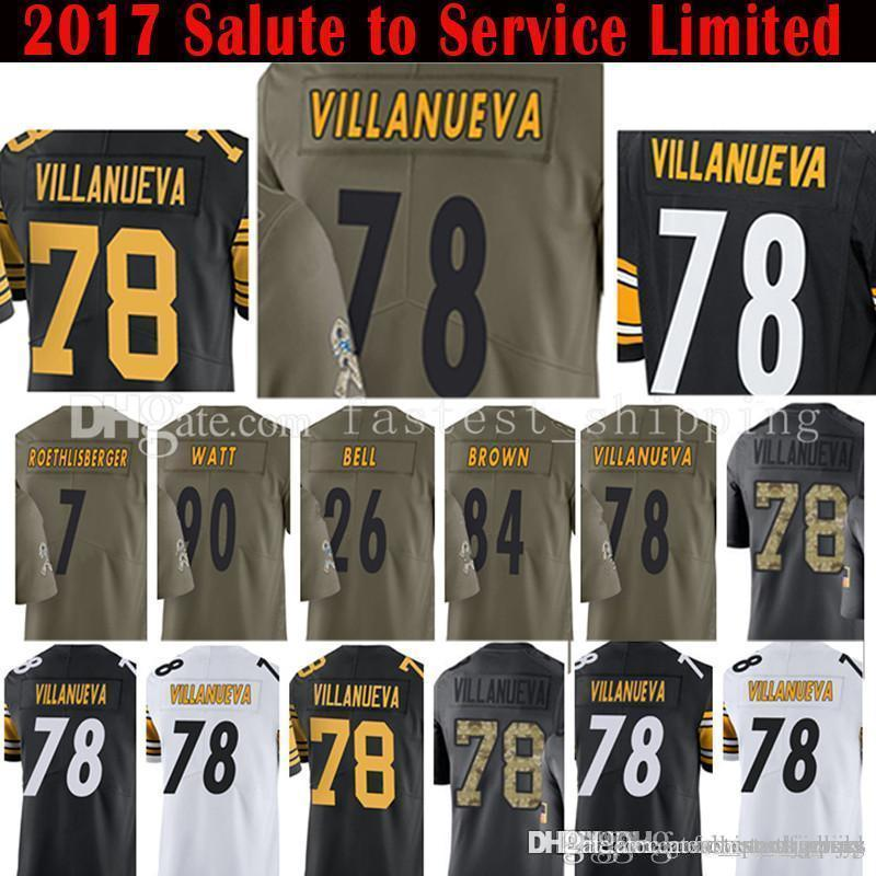 the latest 2d373 088be 2017 nEW Salute to Service Limited 78 Alejandro Villanueva 84 Antonio Brown  Jersey 90 T.J. Watt 7 Ben Roethlisberger 26 Le'Veon Bell Je