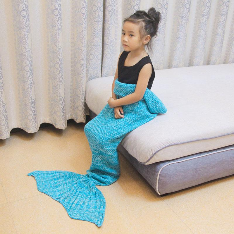 Spring Bedding Sofa Cute Blanket Wool Knitting Fish Style Little Tail Blankets Warm Sleeping Child Kids Princess Loves Gift