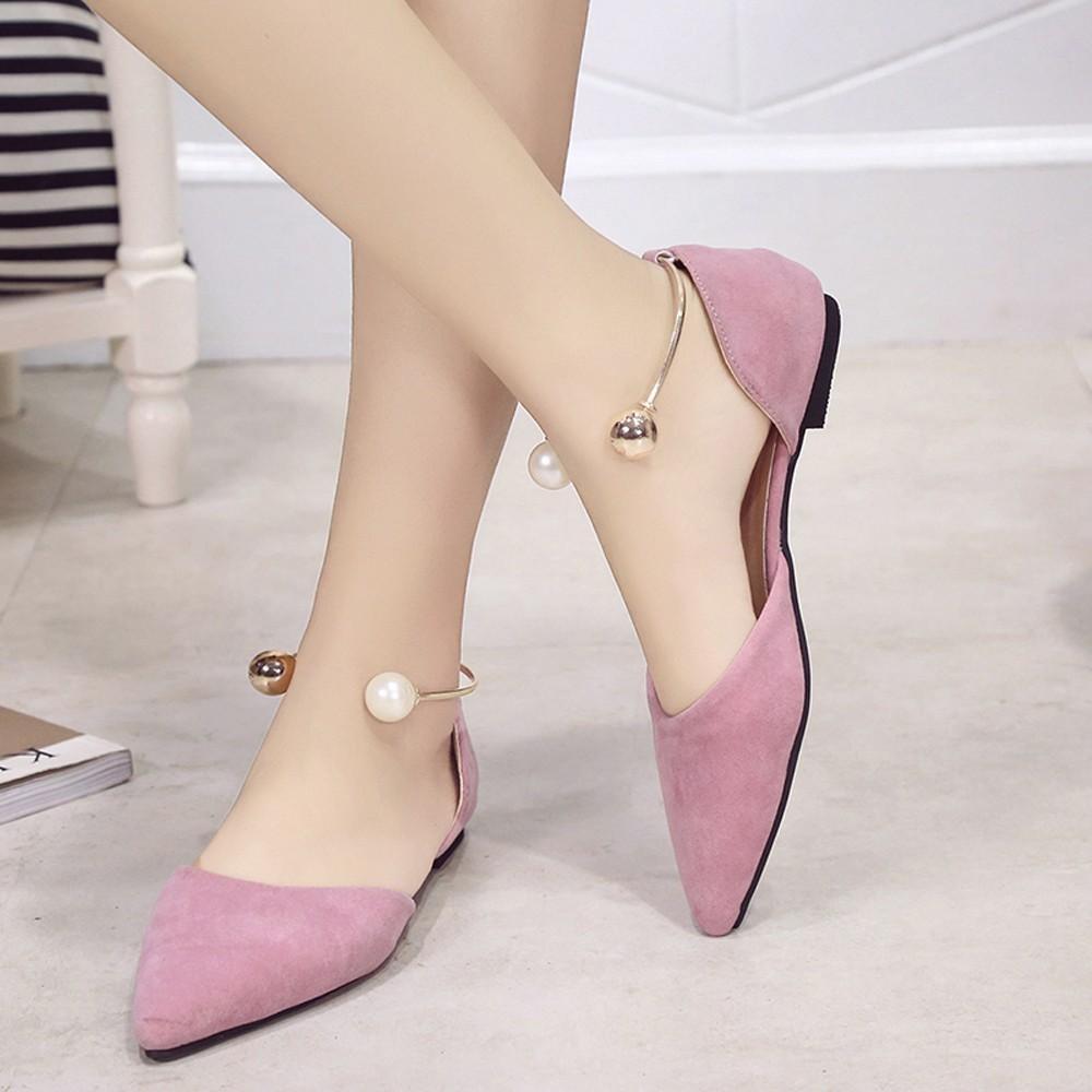 e8e6255006 Compre 2019 Vestido KLV Zapatos Mujer Tacon 2018 Boca Baja Zapatos  Individuales Zapatos De Metal Para Mujer Anillo De Pie De Perla Zapatos  Puntiagudos ...