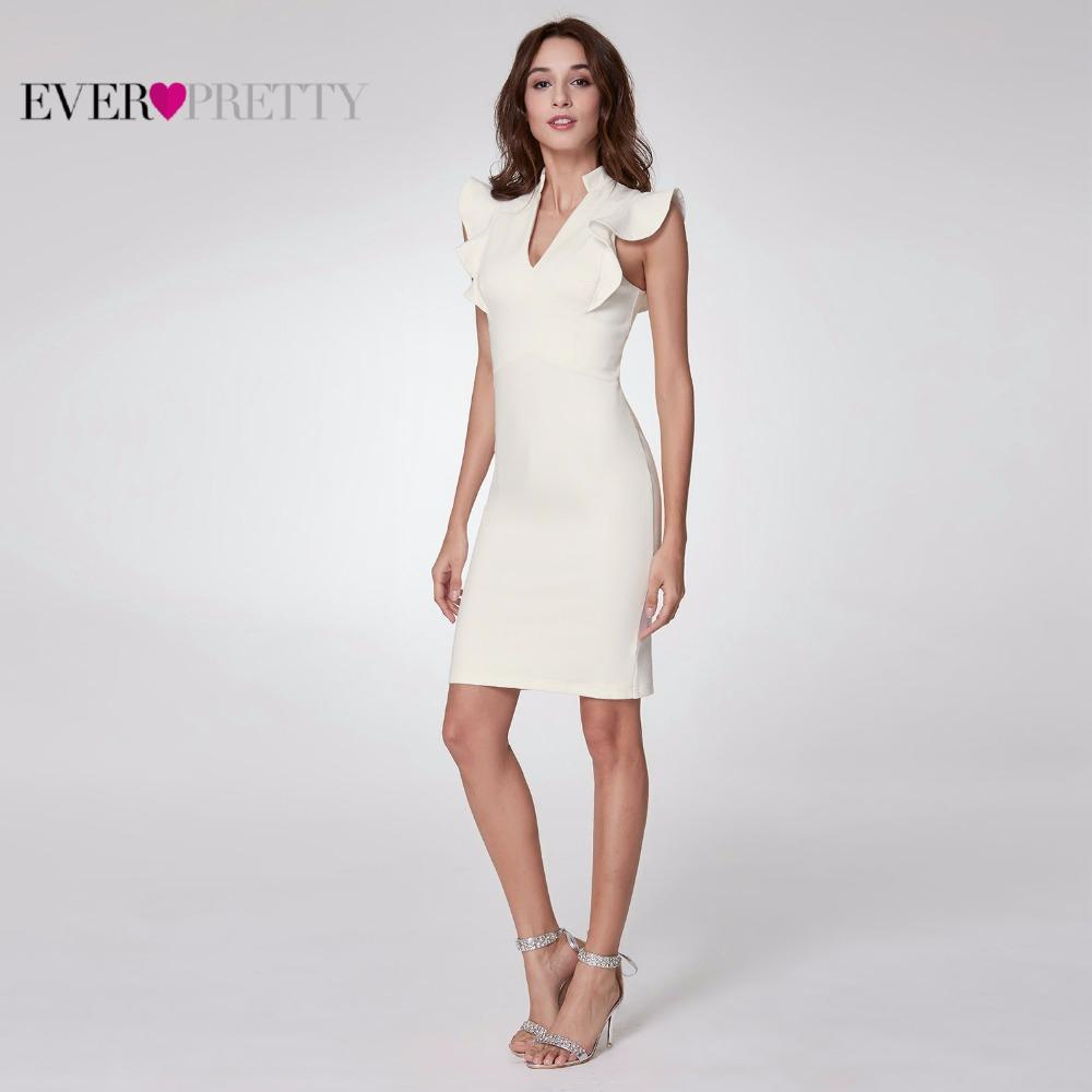 wholesale 2018 Women Elegant Cocktail Dresses A Line Ruffles V-Neck Sleeveless White Party Club Cocktail Dress