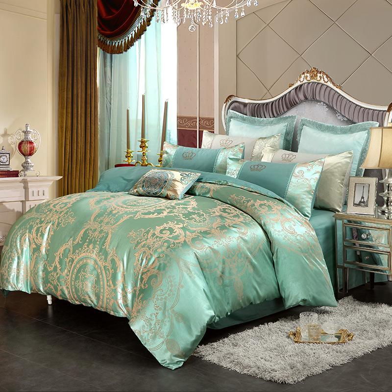 Gold White Blue Jacquard Silk Bedding Set Luxury Satin Bed Sets ...