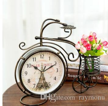 decorative desk clocks wholesale8 inch retro style tricycle mute table clock vintage iron art silent desk decoration ornament decorative