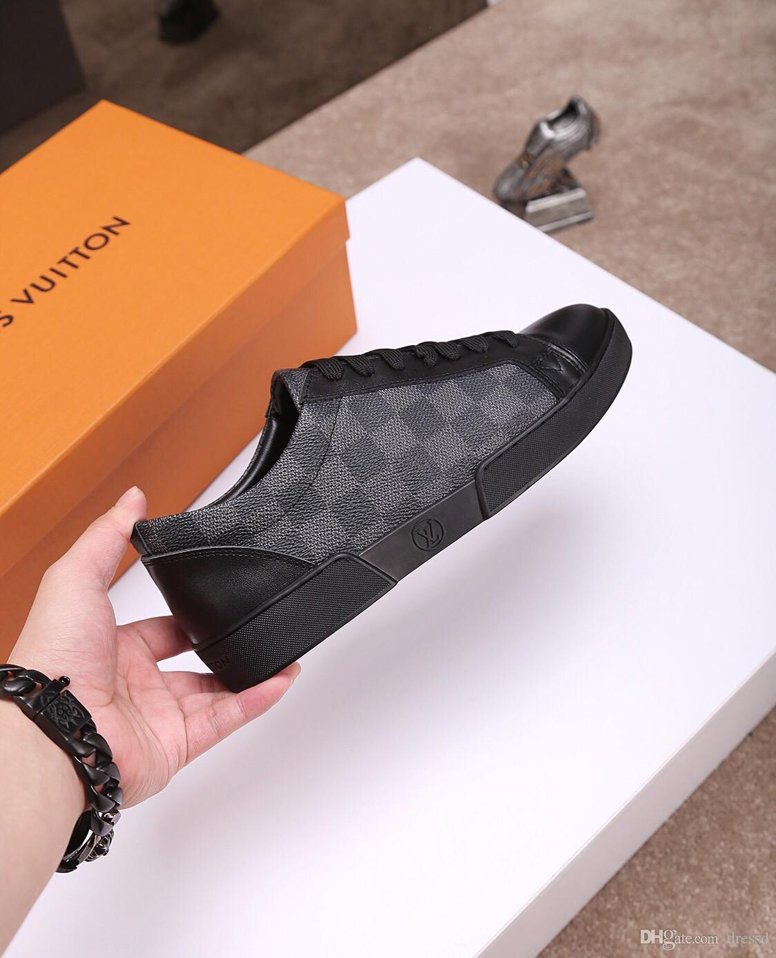 2019 Velvet black men's and women's boutique shoes beautiful thick-soled casual sneakers hot sale leather solid color dress shoes 35-45