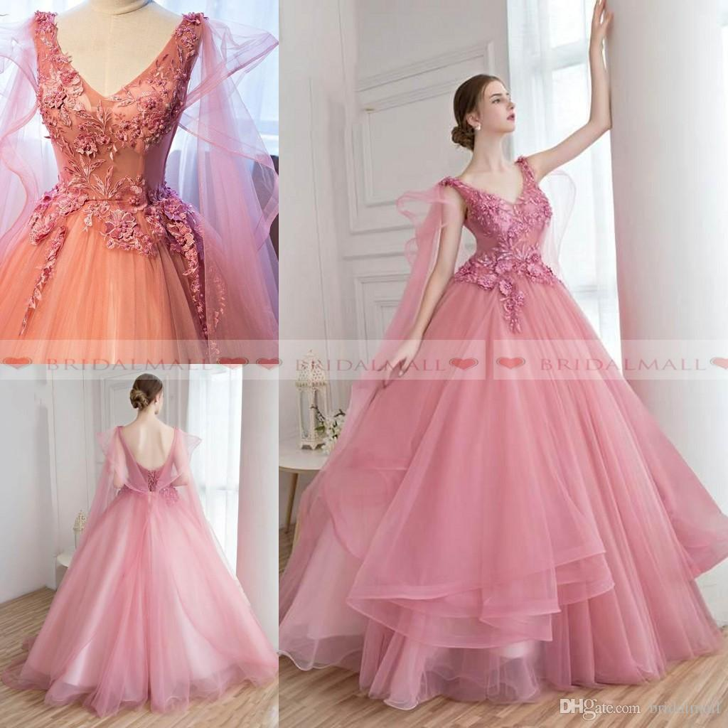 de0d40b6892 New 2019 Dusky Pink Lace Appliques Tulle Ball Gown Prom Dresses V Neck Sexy  Lace-up Back Beaded Special Occasion Dress Formal Evening Gowns