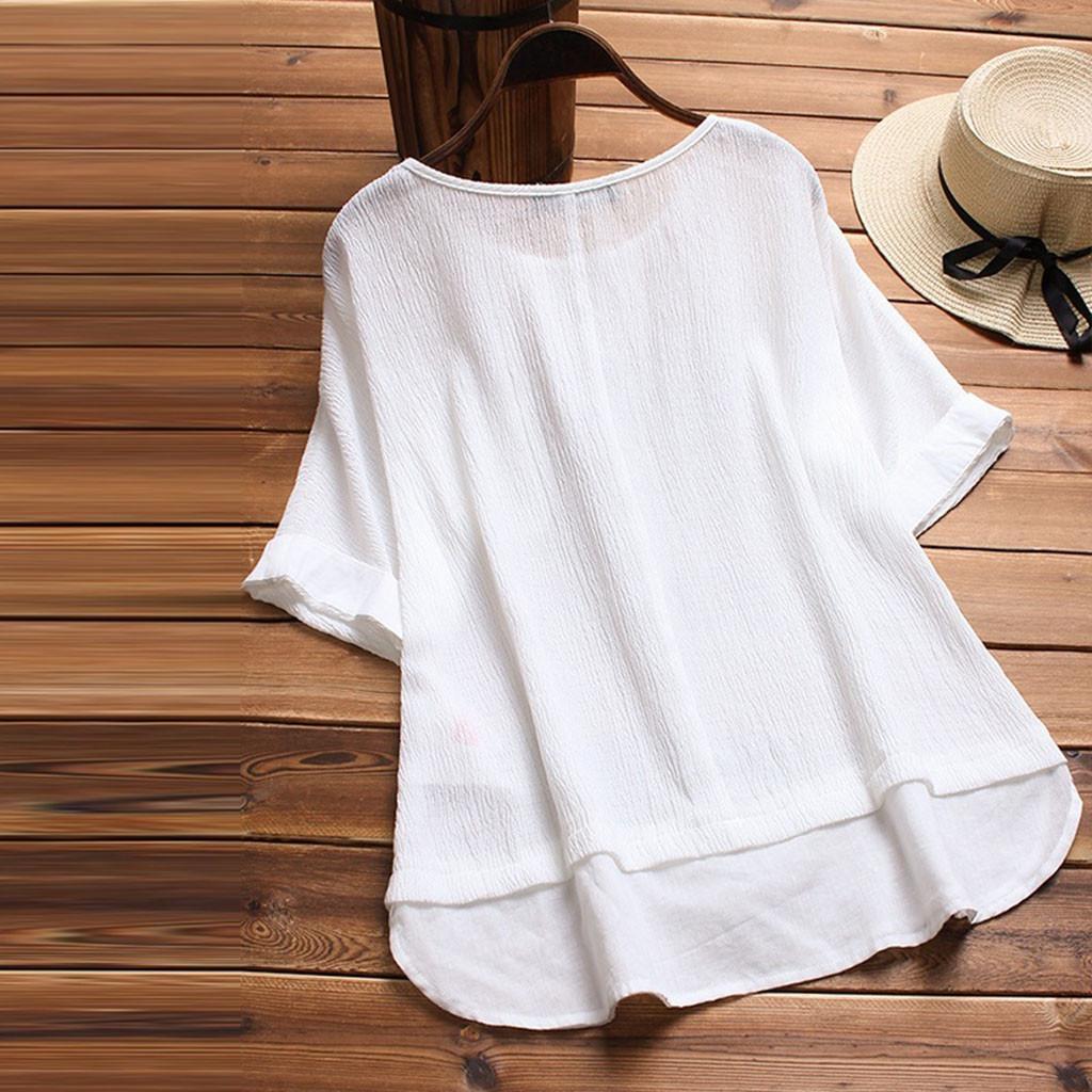be91a16cbf75 Camisa de lino para mujer Verano de cuello redondo Tops de manga corta  Color sólido Sudadera suelta Tops Blusa Camisa Casual de gran tamaño / PT