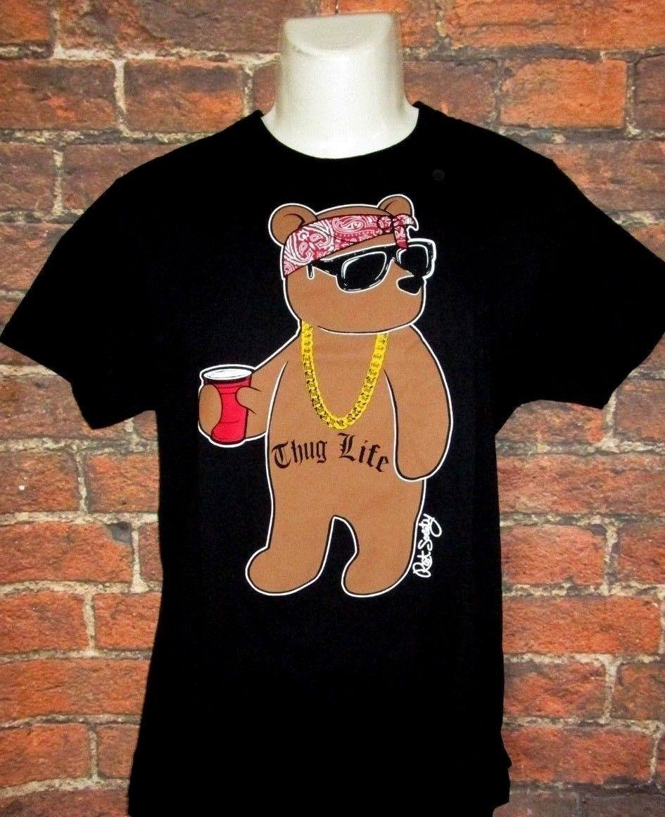 8f98b2b7cf MENS RIOT SOCIETY THUG LIFE BEAR BLACK T-SHIRT SIZE L top free shipping  t-shirt