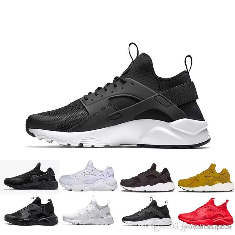 cc80917c2621 2019 Cheap Huarache 4 Trainers Sneaker Mens Running Shoes Triple S White  Black Red 2018 Huaraches Men Women Sport Sneakers Size 5.5 11 From  Cqqstroe