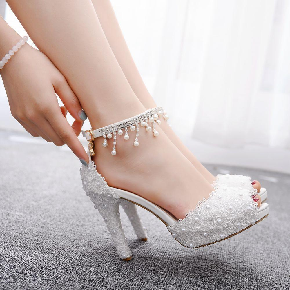 6e643495671 Summer Shoes Women 2019 High Heels Platform Sandals Lace Pearl ...