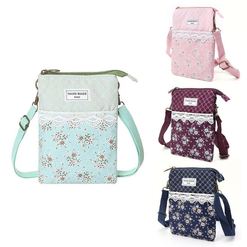 14x2x19cm Women Flower Printed Lace Wallet Purse Coin Cell Phone Case Mobile Bag Pouch Mini Shoulder Bags