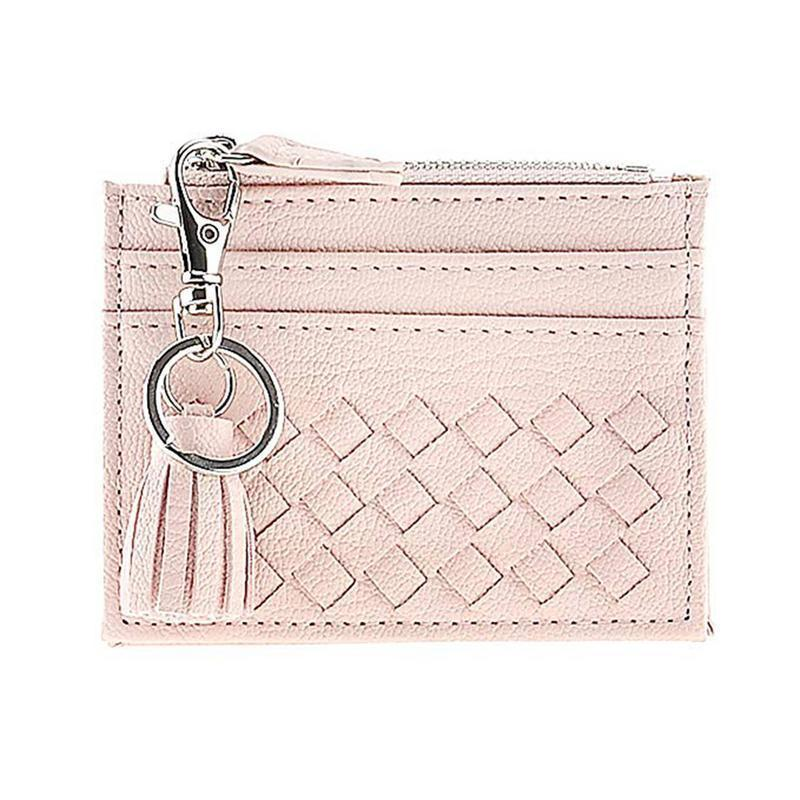 Leather Compact Coin Purse Bag Wallet Credit Card Case Organizer Zipper Wallet Key Ring Fashion Coin Holder Purses Bags Pouchs