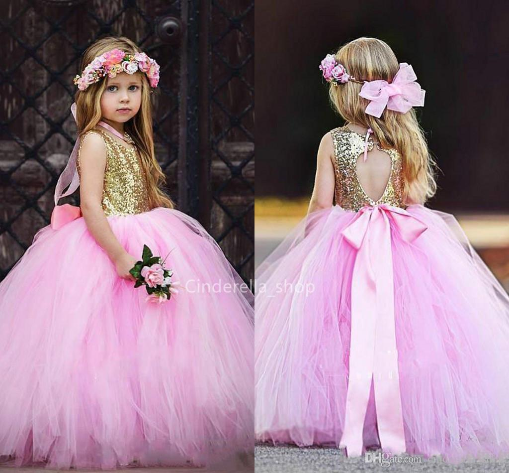 921c86c03cca9 Beautiful Gold Sequin Tulle Flower Girls Dresses Ball Gowns Sparkly Hollow  Back With Bow Girls Pageant Dresses Kids Birthday Part Gowns 2019