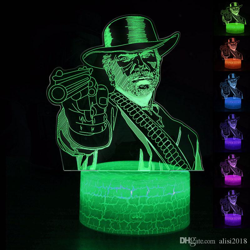 Red Dead Redemption 2 Game Arthur Morgan NightLight LED Lamp Sleep Light  RDR2 Projection Lamp Kids Christmas Gifts