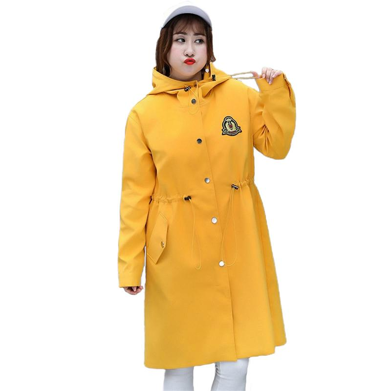 7aacbebcc Plus size 4XL Trench Coat Women Spring Autumn Hooded Windbreaker Korean  version Outerwear Fashion Large size Trench Coats A2440